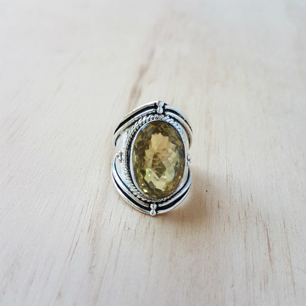 Lemon Quartz Rope Ring