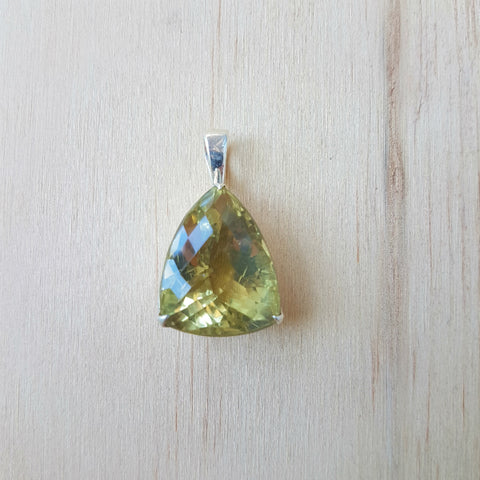 Lemon Quartz Trillion Pendant