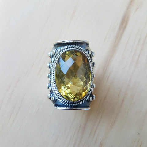 Lemon Quartz Tibetan Saddle Ring