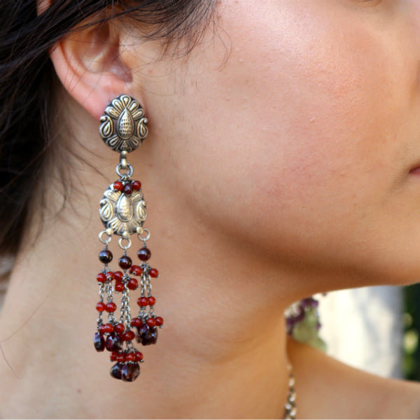 Big Boho Earrings Garnet and Carnelian Beaded Earrings