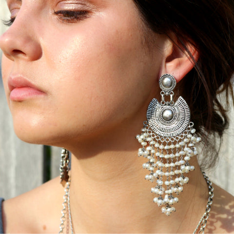 Big Boho Earrings Pearl Beaded Earrings