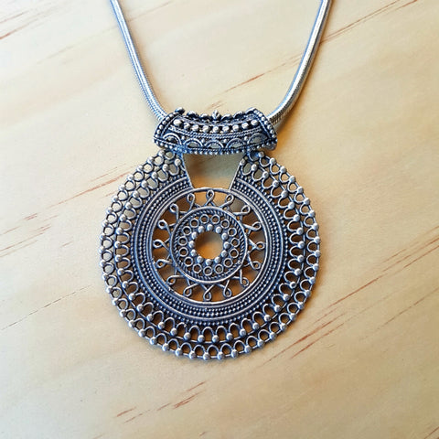 Tribal Sun Mandala Pendant - Inspired Tribe Silver Jewellery