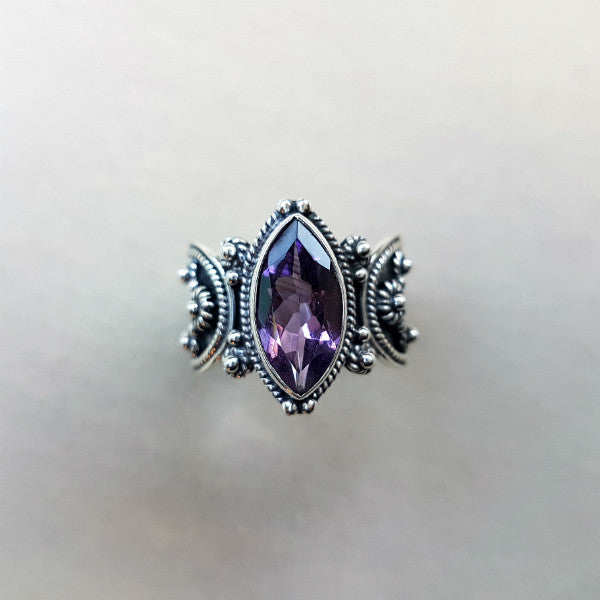 Marquise Cut Amethyst Ring with Silver Oxidised Band - Inspired Tribe Silver Jewellery