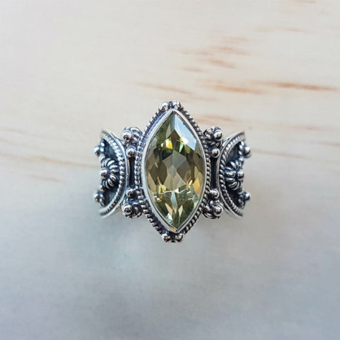 Marquise Cut Lemon Quartz Ring with Silver Oxidised Band - Inspired Tribe Silver Jewellery