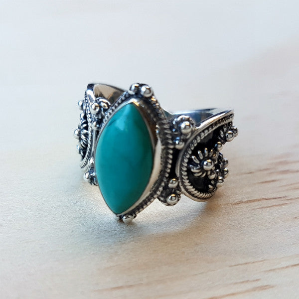 Marquise Cut Tibetan Turquoise Ring with Silver Oxidised Band - Inspired Tribe Silver Jewellery