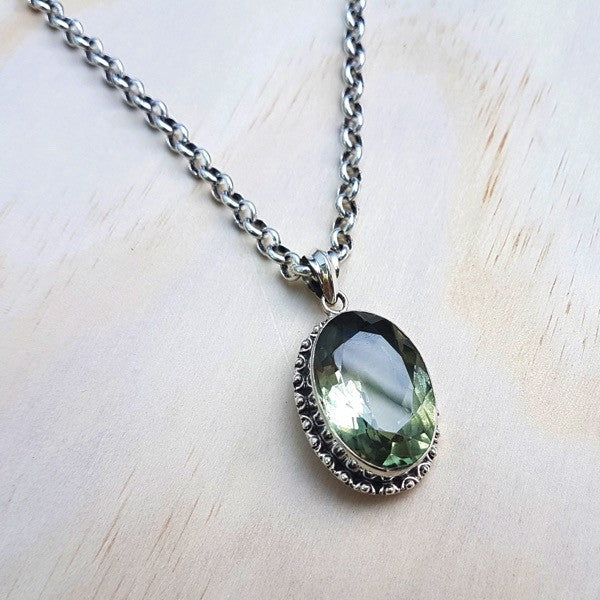 Green Amethyst and Sterling Silver Indian Pendant