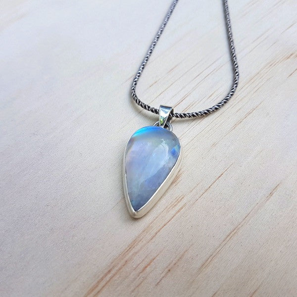 Rainbow Labradorite (Moonstone) and Sterling Silver Teardrop Pendant