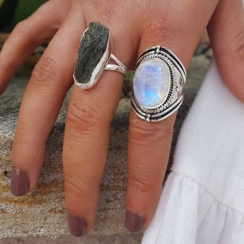 Rainbow Moonstone Artisan Ring