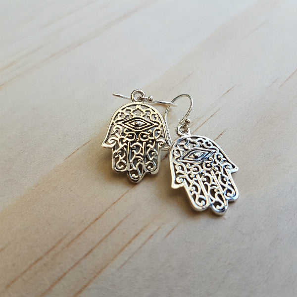 Khamsa or 'Hamsa' Filigree Silver Earrings - Inspired Tribe Silver Jewellery