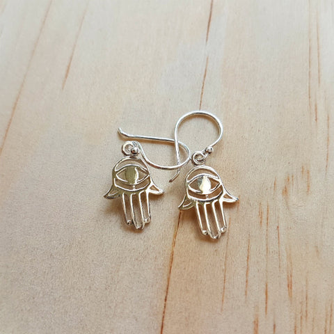 Evil Eye Hamsa or 'Hand of Fatima' Earrings - Inspired Tribe Silver Jewellery