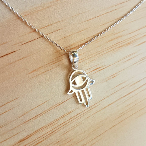 Evil Eye Hamsa / Hand of Fatima Pendant - Inspired Tribe Silver Jewellery