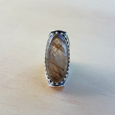 Golden Rutile Engraved Saddle Ring