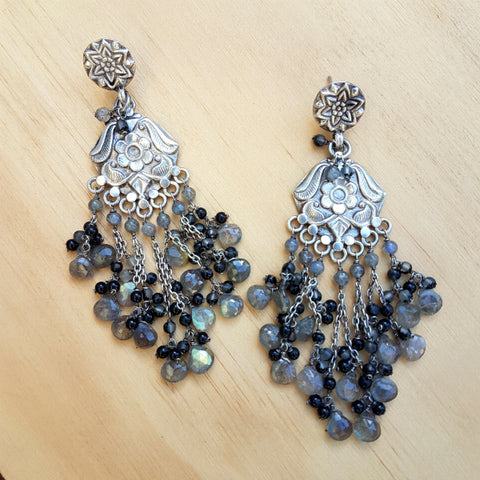 Big Boho Earrings Black Onyx and Labradorite Beaded Earrings