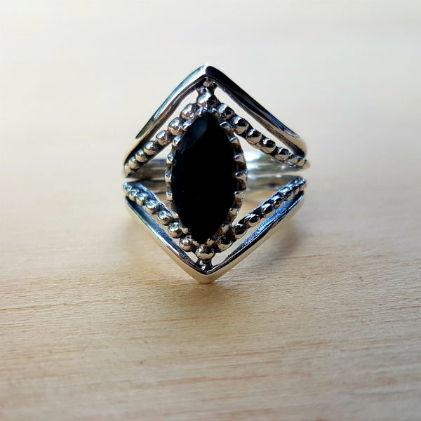 Black Onyx Marquise Claw Ring