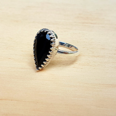 Black Onyx Artisan Teardrop Ring