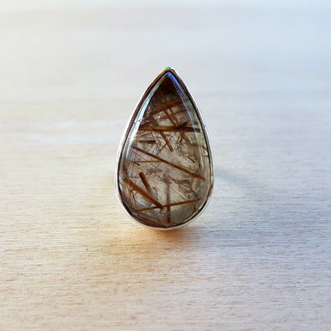 Golden Rutile Lalita Teardrop Ring