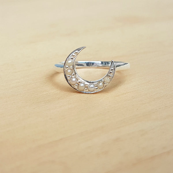Pearl Crescent Moon Ring