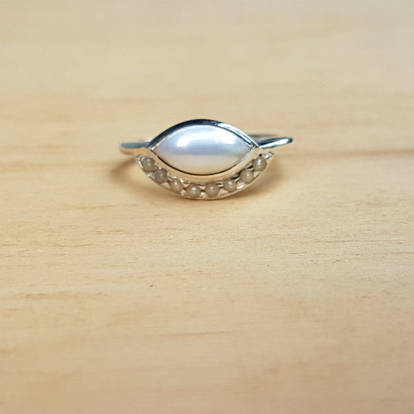 Pearl Evil Eye Ring