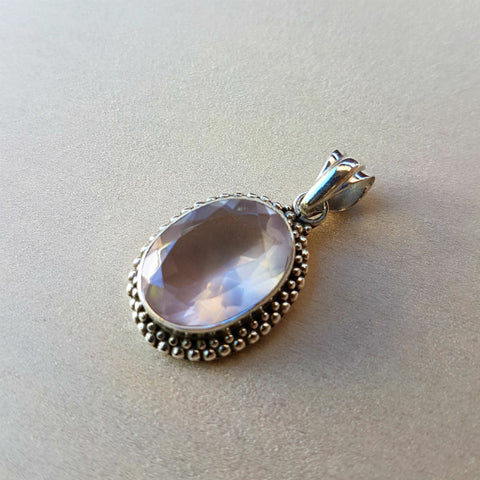 Oval Rose Quartz Pendant in Sterling Silver - Inspired Tribe Silver Jewellery
