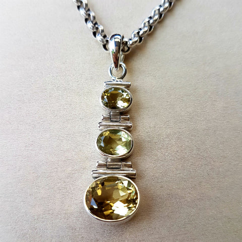 Lemon Quartz Three Stone Sterling Silver Pendant