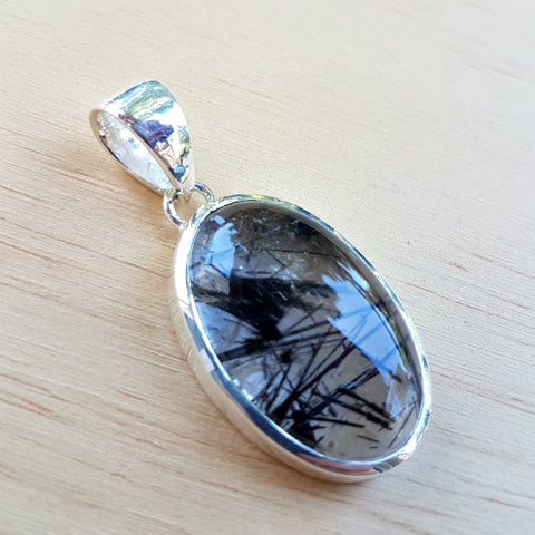 Black Rutile Oval Grace Pendant