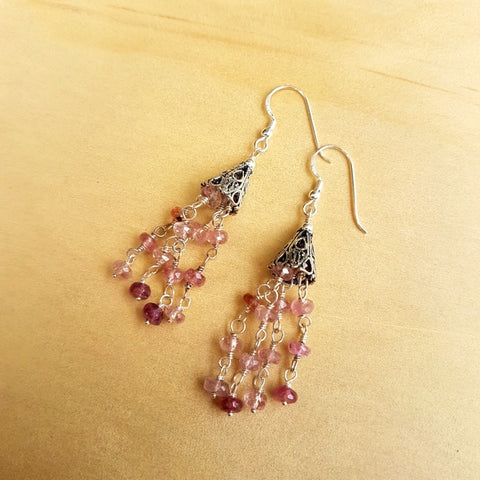 Tourmaline Beaded Tassel Earrings