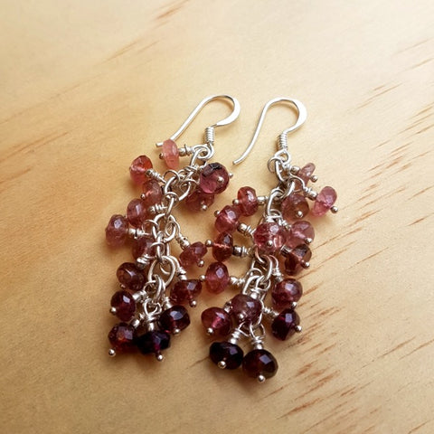 Tourmaline Beaded Cluster Earrings