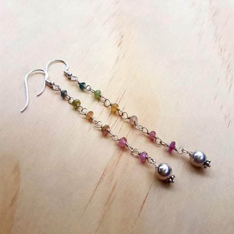 Tourmaline 'Rainbow' Beaded Earrings