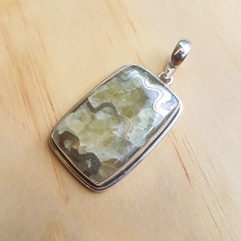Pyritic Septarian Contemporary Pendant - Inspired Tribe Silver Jewellery