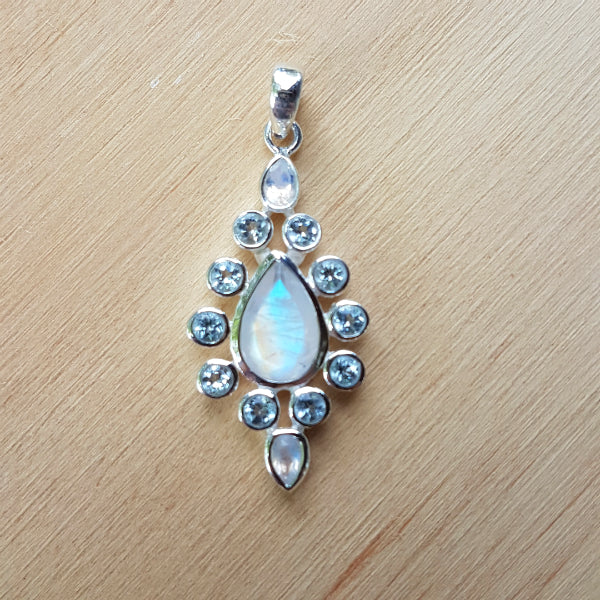 Rainbow Moonstone and Topaz Luxe Pendant