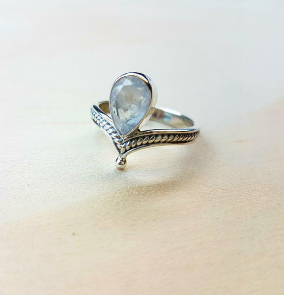 Rainbow Labradorite (Moonstone) Teardrop Wishbone Ring