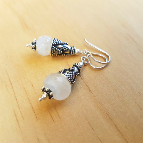 Rainbow Moonstone Artisan Beaded Earrings