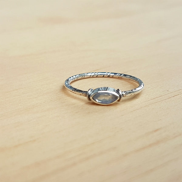 Rainbow Moonstone Mini Marquise Ring