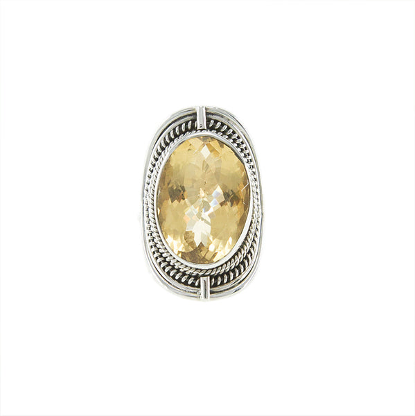 Checkerboard Cut Citrine Sterling Silver Ring - Inspired Tribe Silver Jewellery