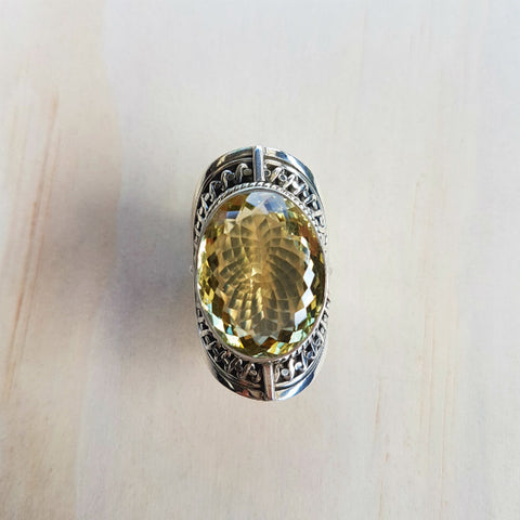 Lemon Quartz and Sterling Silver Statement Ring