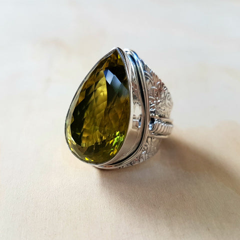Green Gold Lemon Quartz Ring - Inspired Tribe Silver Jewellery