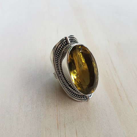 Lemon Quartz Oval Gemstone Ring - Inspired Tribe Silver Jewellery