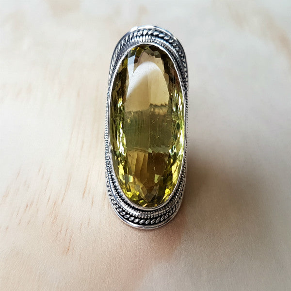 Lemon Quartz Statement Ring - Inspired Tribe Silver Jewellery