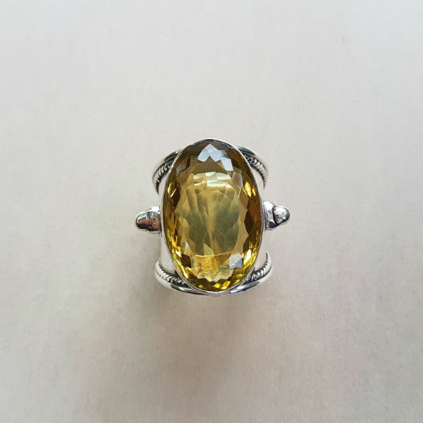 Checkerboard Faceted Citrine Statement Ring