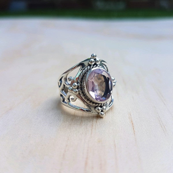 Jali Rose Quartz Ring in Sterling Silver - Inspired Tribe Silver Jewellery