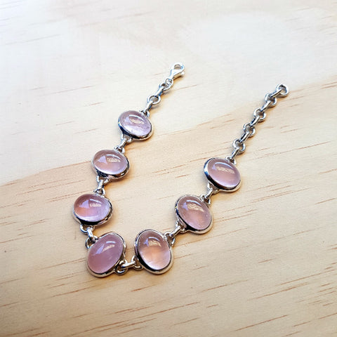 Rose Quartz Bracelet in Sterling Silver - Inspired Tribe Silver Jewellery