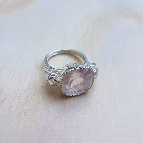 Cushion Cut Rose Quartz Ring in Sterling Silver