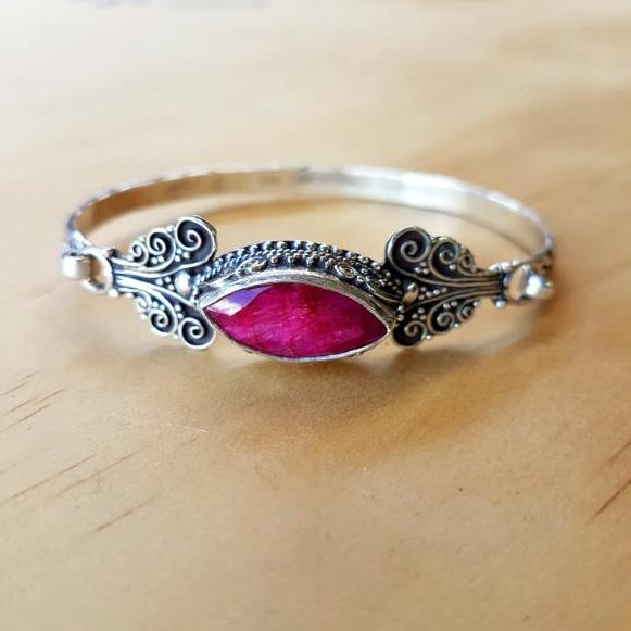 Ruby Marquise Scroll Bangle - Inspired Tribe Silver Jewellery
