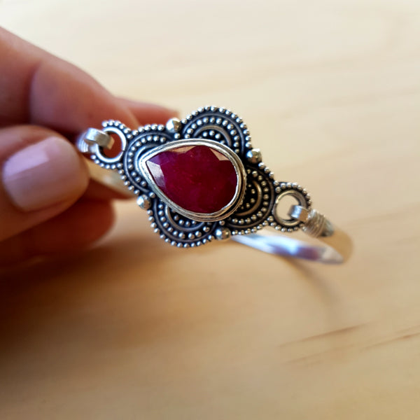 Ruby Teardrop Flower Bangle - Inspired Tribe Silver Jewellery