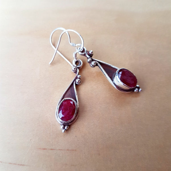 Oval Ruby Drop Earrings - Inspired Tribe Silver Jewellery