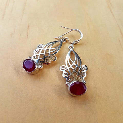 Silver And Ruby Lattice Earrings