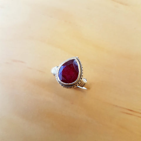 Deep Red Ruby Teardrop Ring - Inspired Tribe Silver Jewellery