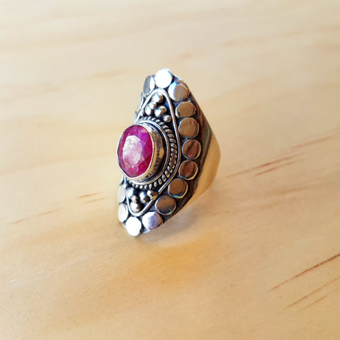 Diamond Shaped Ruby Statement Ring - Inspired Tribe Silver Jewellery