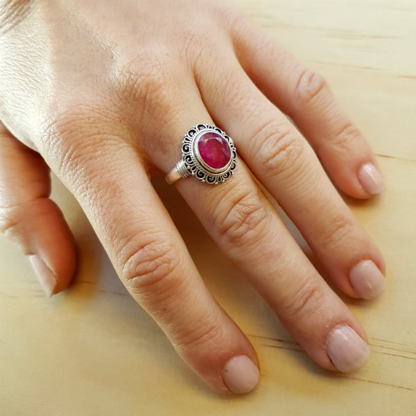 Pink Ruby Flower Ring - Inspired Tribe Silver Jewellery