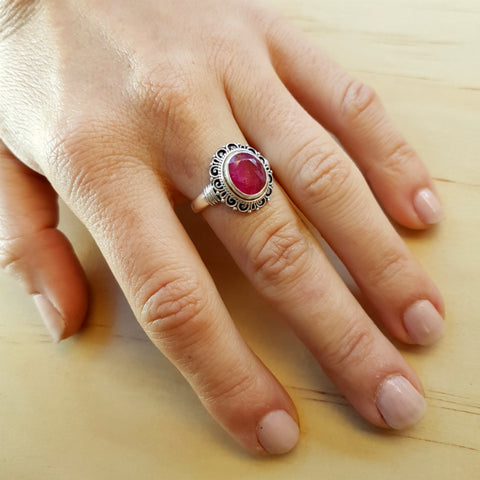 Pink Ruby Flower Ring